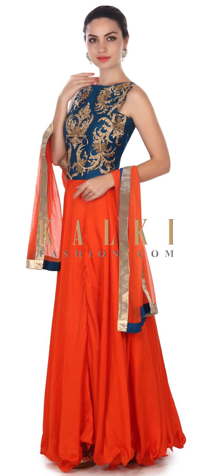 Buy this Orange anarkali suit embellished in zari and resham only on Kalki