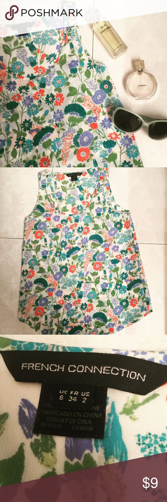 French Connection vibrant floral tank top 2 Small Great top by French Connection. Tag shows size US 2 - which is similar to a small. Looks great with jeans or shorts. Excellent condition. French Connection Tops Tank Tops