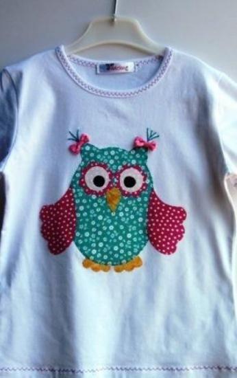 camiseta búho niña patchwork  camiseta algodón,telas algodón 100% aplicación patchwork,cosido a máquina y a mano