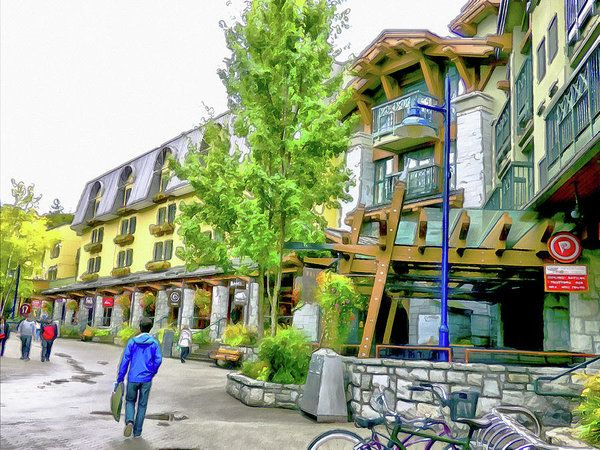 A Stroll Through Whistler Village - More Shops Art Print by Leslie Montgomery.