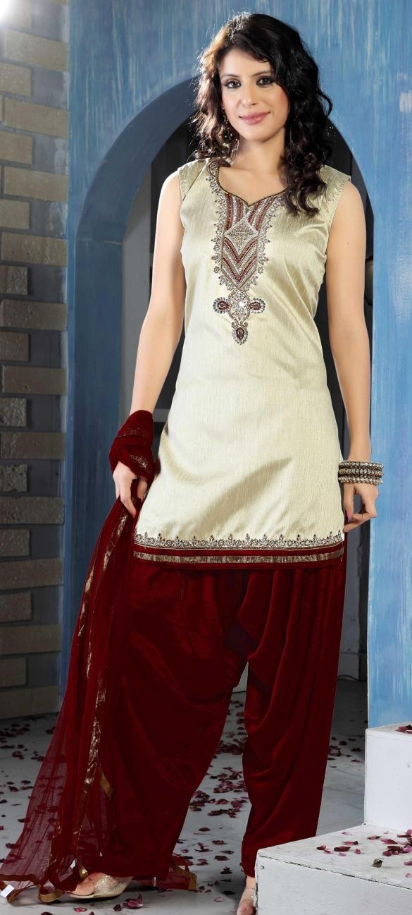 Cream Sleeveless Art Silk Punjabi Salwar Kameez