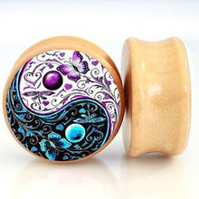 2pcs/Lot Pair of Nature Wood Ear Plugs Fit Ear Gauges Plugs - YIN YANG Flouer Butterfly 6MM-25MM 2G-1'' Flesh Tunnels(China (Mainland))