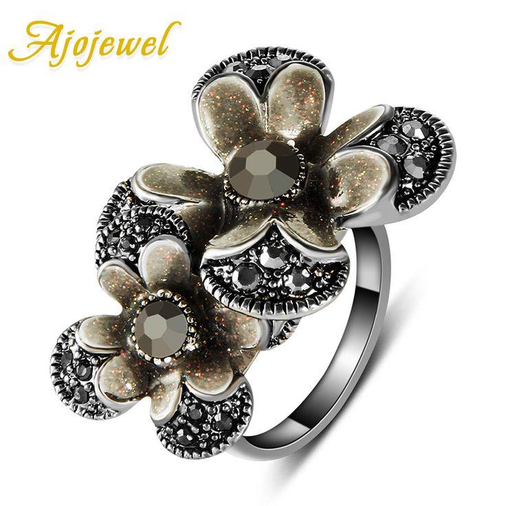 Ajojewel Fashion Retro Style Antique Silver Plated Big Full Rhinestones Flower Vintage Rings For Women