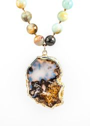 Sense Of The Ocean Beaded Agate Necklace from Agate Ranch + Marfa  on Taigan