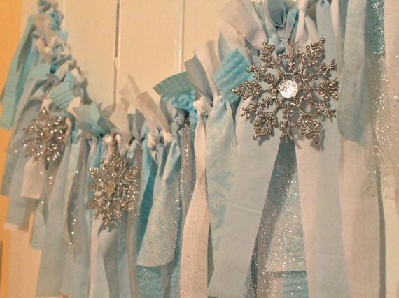 Winter wonderland, Winter ONE-derland, Frozen inspired shabby chic fabric…