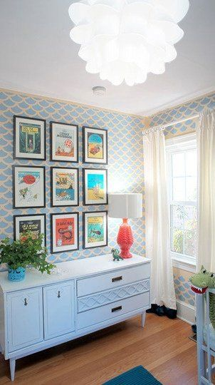 Nursery color splash: grey-aqua, red, yellow, green ♥Click and Like our Facebook page♥