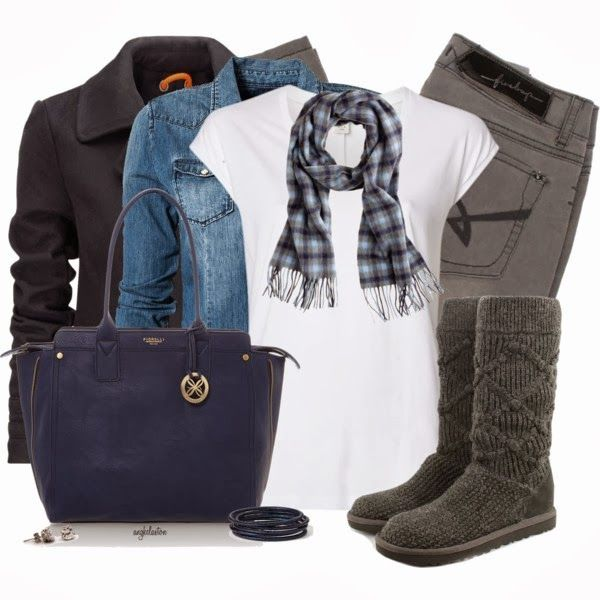 Winter OutfitBeautyful Fashion, Clothing, Closets Paaalea, Blue Denim White Gray, Fall Winte, Winter Outfits, Cozy Scarf, Boots, Dreams Closets