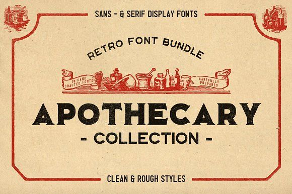 The Apothecary Collection In 2020 Brand Fonts Font Bundles Retro Brand