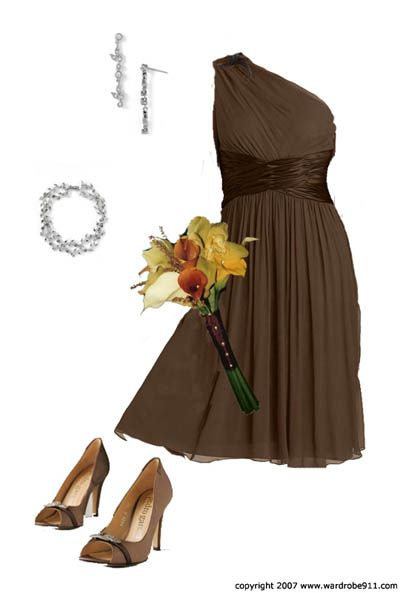 Top 10 Flirty and Fun Brown Bridesmaid Dresses. Love the style & color of dress. Exactly what I'd want for girls but full length. Love bouquet colors w/ the chocolate brown.