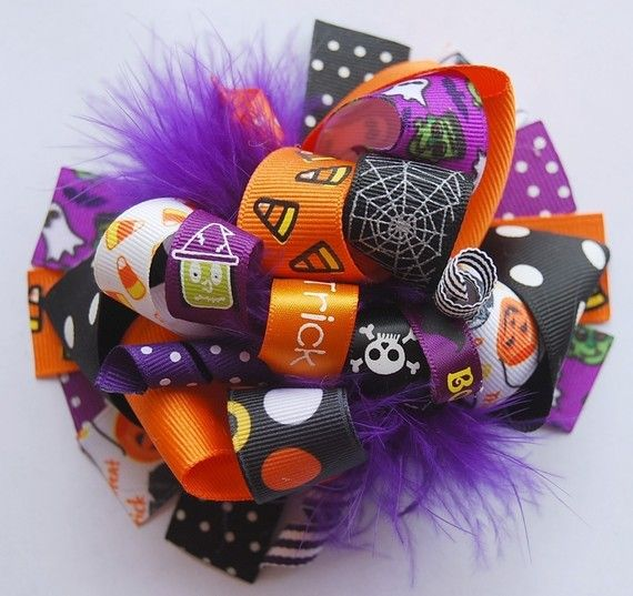 boutique FUNKY fun ALL about HALLOWEEN hair bow clip by andjane, $12.99