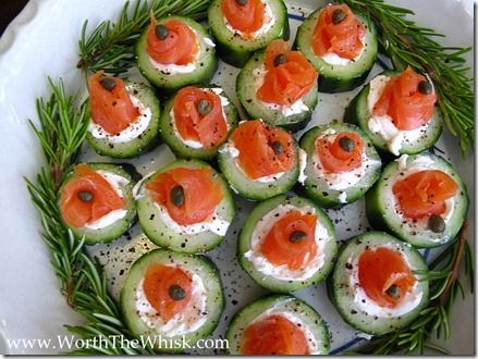 smoked salmon, cream cheese and cucumber appetizer! - also an awesome mid-day snack idea, i love that there are no starches here.