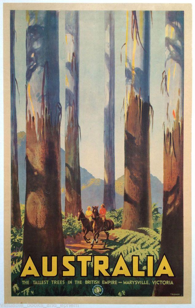 Original Travel Poster Australia 1935 Tallest Trees Yarra Ranges Victoria Forest #Vintage