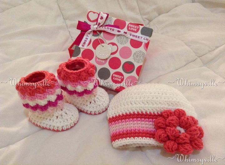 Pink Booties and Beanie