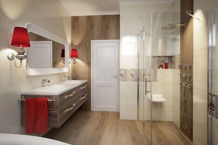 Płytki drewnopodobne  i czerwone dodatki do łazienki -- od razu przytulniej!  #wood #tiles #bathroom