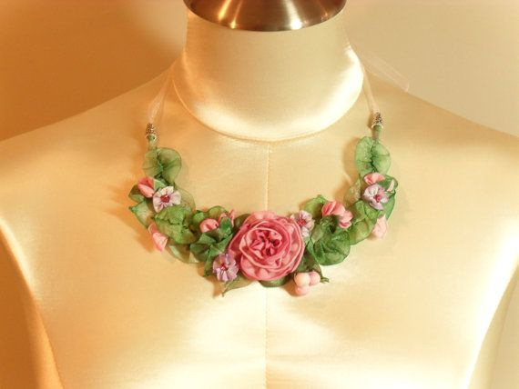 Necklace with handmade French ribbon roses