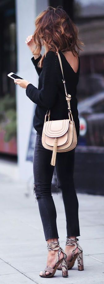 #fall #fashion / black knit