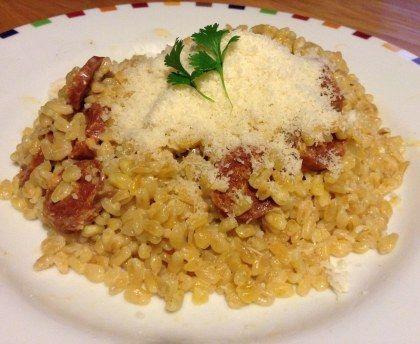 Blé au chorizo façon risotto : Recette de Blé au chorizo façon risotto - Marmiton