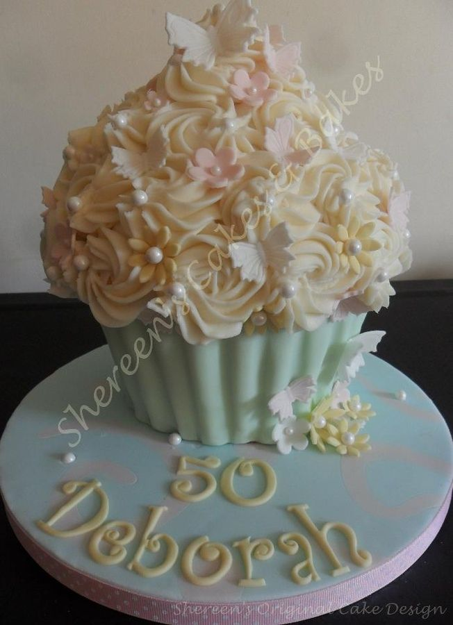 Beautiful Birthday Giant Cupcake with pretty Butterflies