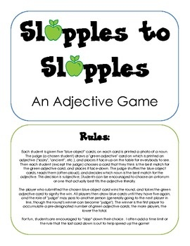 Slapples to Slapples - an Adjective Game from @SublimeSpeech (Danielle Reed) !