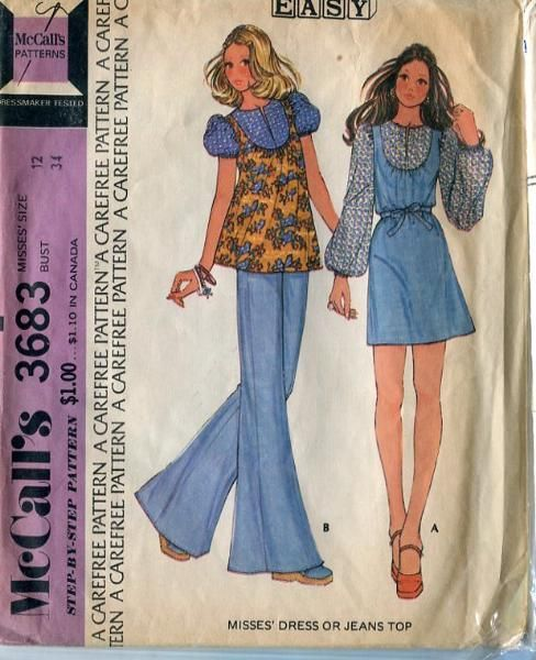 vintage sewing pattern 1970's dress