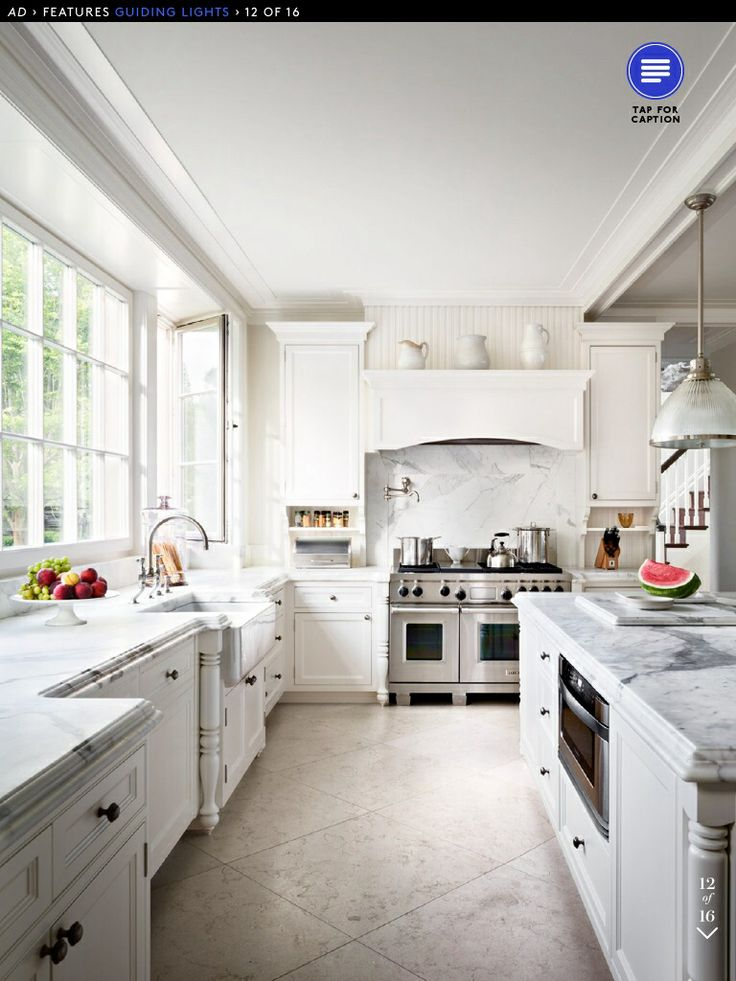 Carrara marble was used for the counters