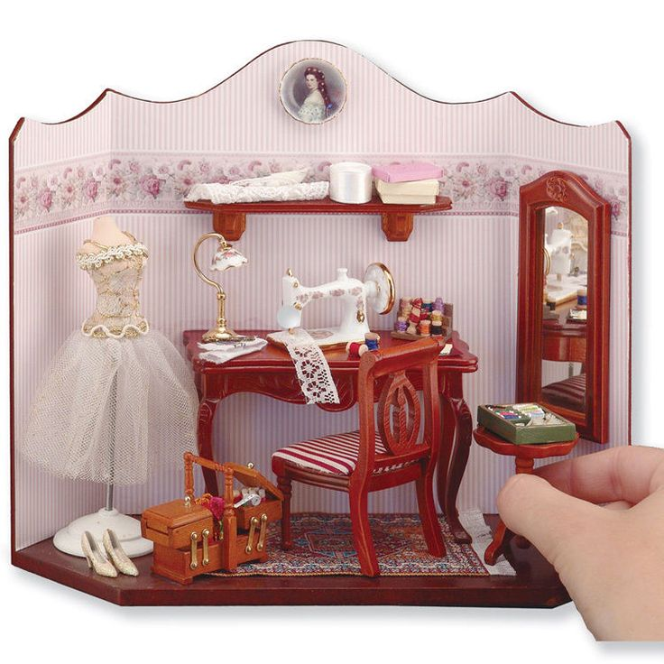Vignette Dollhouse miniature Sewing Room furniture machine set accessories New