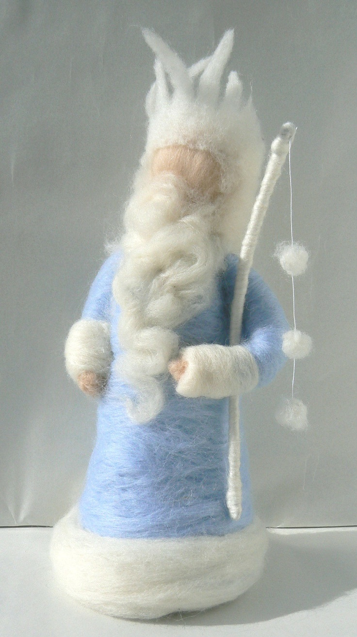 Snowy King Winter, needle Felted, Icicle crown, Blue and White, Waldorf - READY TO SHIP-. $38.00, via Etsy.