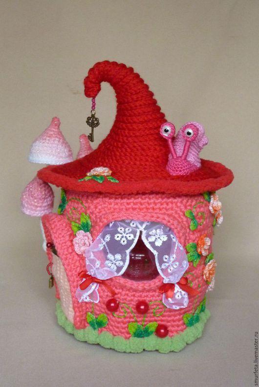 Кукольный дом ручной работы. Ярмарка Мастеров - ручная работа. Купить Домик для гномика. Handmade. Розовый, вязаный домик