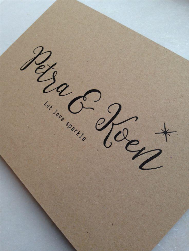 Trouwuitnodiging // sparkle // let love sparkle // kraft // letterpress