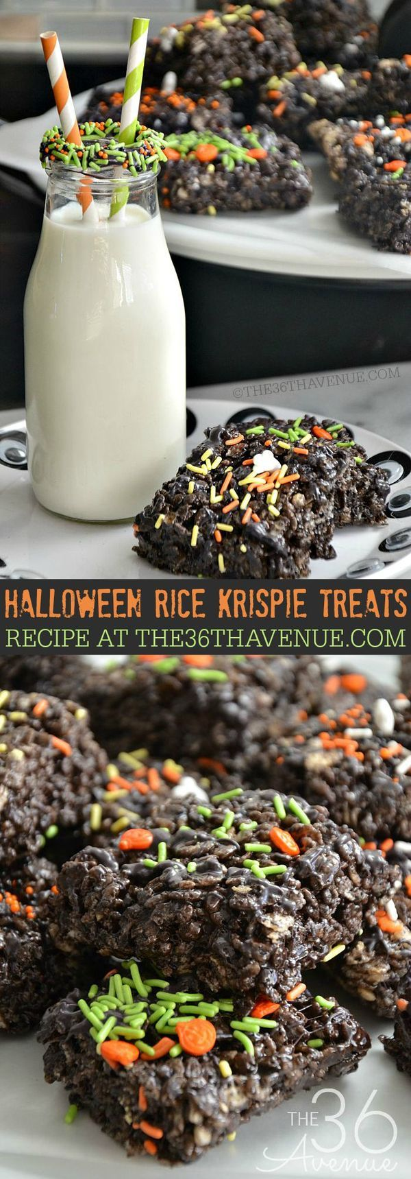 Halloween Rice Krispie Treats recipe at the36thavenue.com ...Click for recipe here : http://www.the36thavenue.com/halloween-rice-krispie-treats/ - This is a great Halloween food idea and a great way to include some cool desserts at your Halloween party!