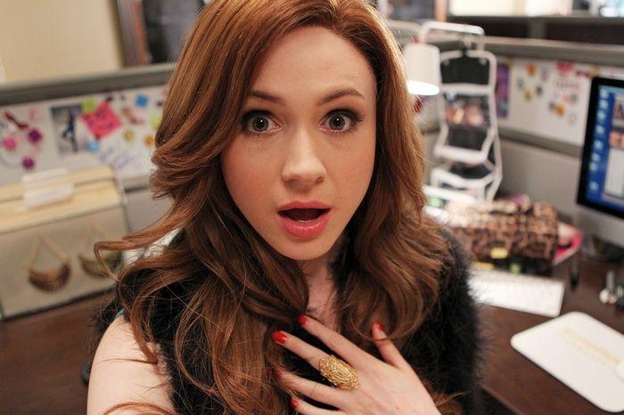 office, #pink lipstick, #Karen Gillan, #selfies, #redhead