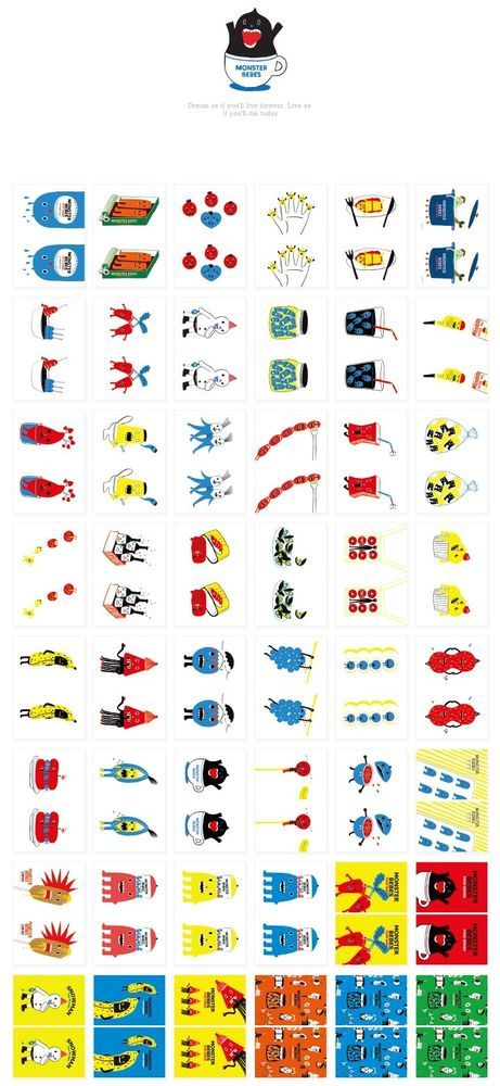 3 packs of sticker - Monster, Kwoni, Drinky (96 sheet x 3 packs = 288 sheet)