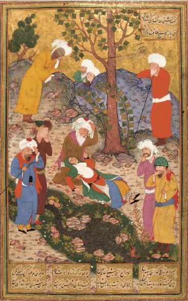 La princesse de Byzance meurt devant San'ân, anonyme, Ispahan (Iran), première décennie du XVIIe siècle. The Metropolitan Museum of Art, New York. Dans le Cantique des Oiseaux d''Attâr illustré par la peinture en Islam d'orient, Editions Diane de Selliers