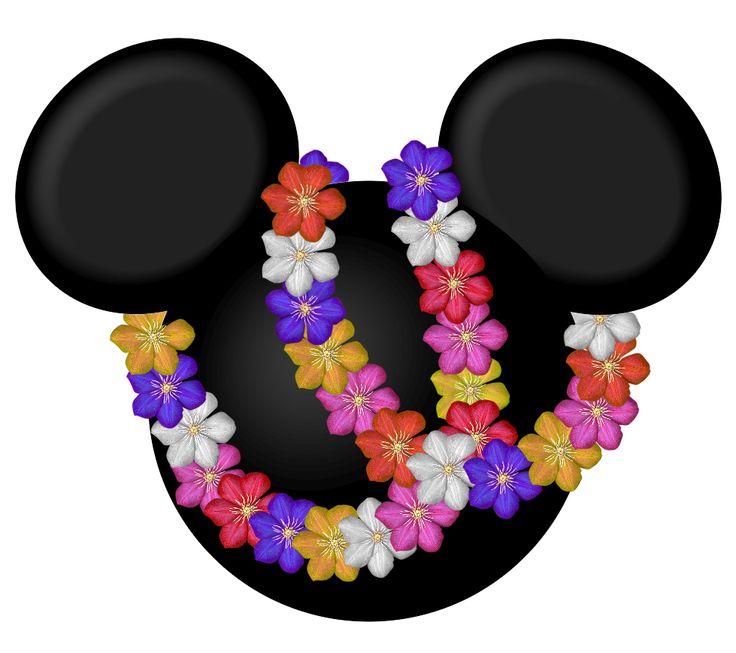 Siluetas de la cabeza de Minnie y Mickey a lo Hawaiano. - Ideas y material gratis para fiestas y celebraciones Oh My Fiesta!