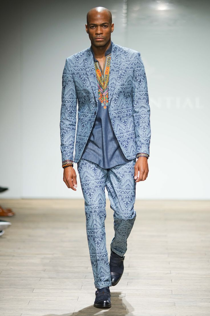 African print denim blazer and matching pants suit worn with a dashiki embroidered kaftan #SAFW #SAFWmen #SAFAW17 #PresidentialSAFW #AfricanHauteCouture #HeritageMonth #MadeInSA South African Fashion Week