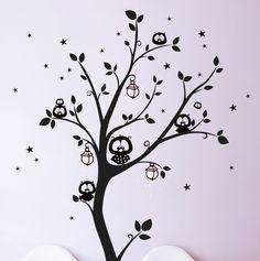Wandtattoos - Wandtattoo Wandaufkleber Eulenbaum Eulen Baum M943 - ein Designerstück von IlkaParey bei DaWanda