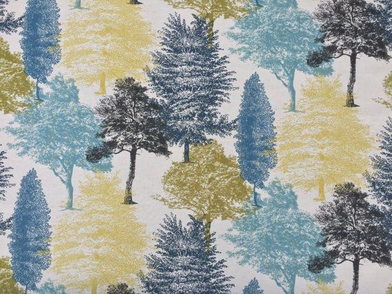 Black Blue Teal Lime Green forest Woodland by TheFabricShopUK