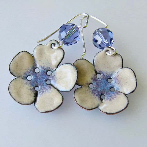 Flower Earrings Purple Earrings Enamel Jewelry by OxArtJewelry,