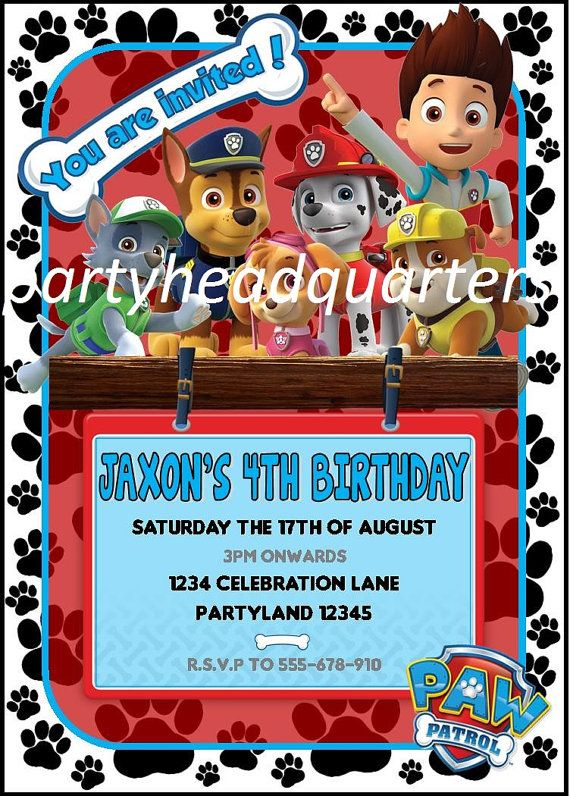 The 25 best Paw patrol party invitations ideas on Pinterest