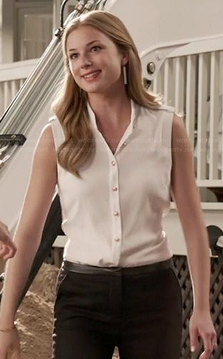 Emily's white top with gold buttons and leather trimmed pants on Revenge.  Outfit Details: http://wornontv.net/21838/ #Revenge