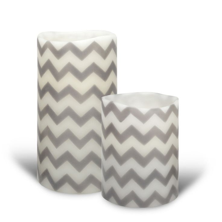 Inreda.com - Batteriljus LED Smooth Chevron Grey Diam 8 cm, Enjoy Candles
