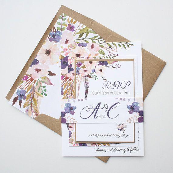 New! Purple bohemian wedding invitations.