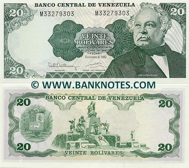 Venezuela 20 Bolivares 1981-1995  Front: Jose Antonio Paez Herrera (1790-1873). Back: Monument for the Battle of Carabobo - Altar de la Patria, Campo de Carabobo. Coat of arms.Watermark: Portrait of Jose Antonio Paez.