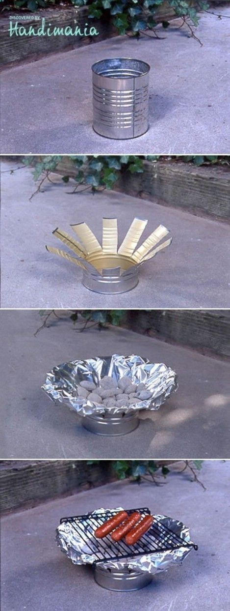 What a clever idea! Make a camping grill out of a tin can and some aluminum foil. I'm not much for hotdogs, but things always taste better when you're camping.