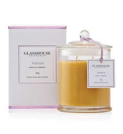 Glasshouse Candle in Tahaa. One of my many favourite scents in my bedroom. Mmmm Vanilla Caramel!