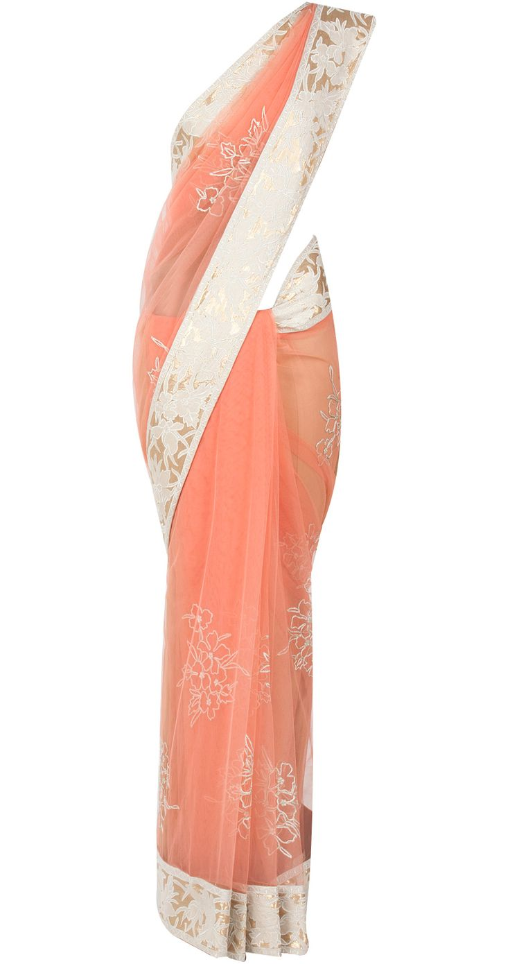 Coral net sari with floral emboridery by SHEHLA KHAN. Shop at http://www.perniaspopupshop.com/whats-new/shehla-khan-7234