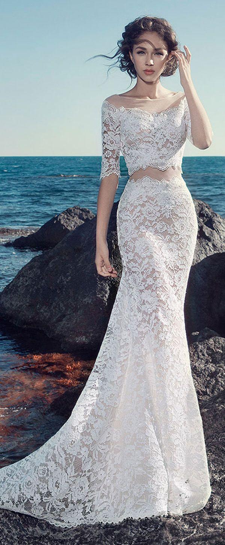 Romantic Tulle & Lace Bateau Neckline Mermaid Wedding Dresses with Lace Appliques