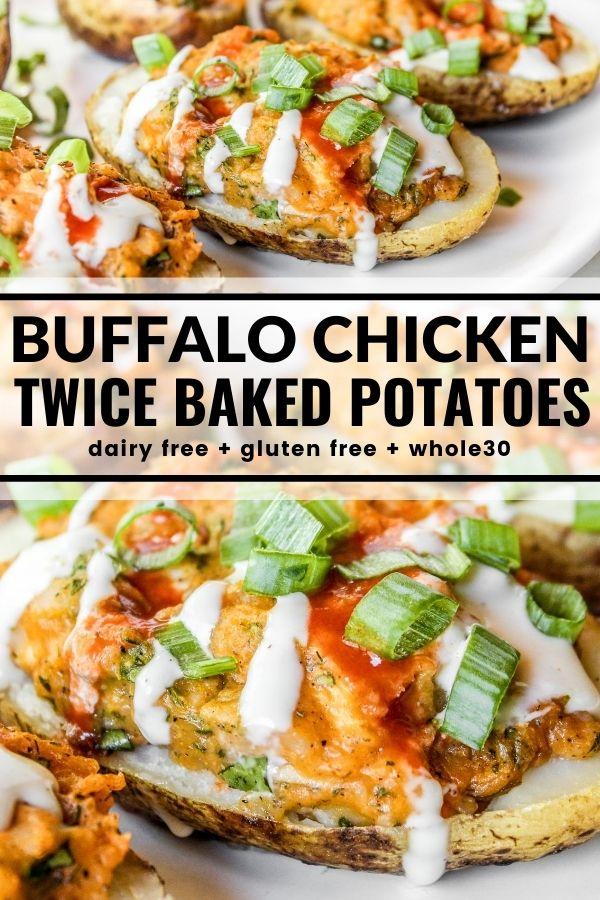 Buffalo Chicken Twice Baked Potatoes Recipe In 2020 Baked Potato Dinner Twice Baked Potatoes Stuffed Baked Potatoes
