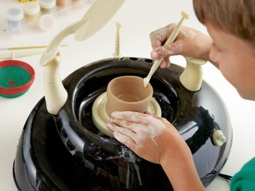 If your child likes getting her hands dirty, she may enjoy a pottery wheel designed for kids. These wheels are toys, but they work well for introducing children to the world of thrown pottery. Here...