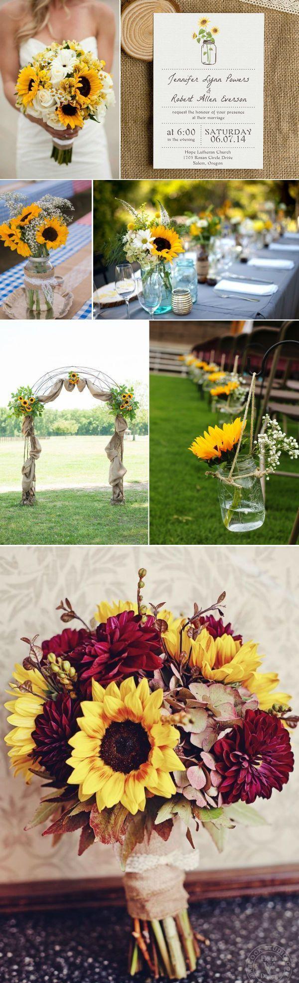 rustic fall sunflower and mason jar themed wedding ideas